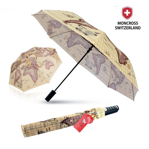 몽크로스 2단 고지도 패턴 반자동 우산
