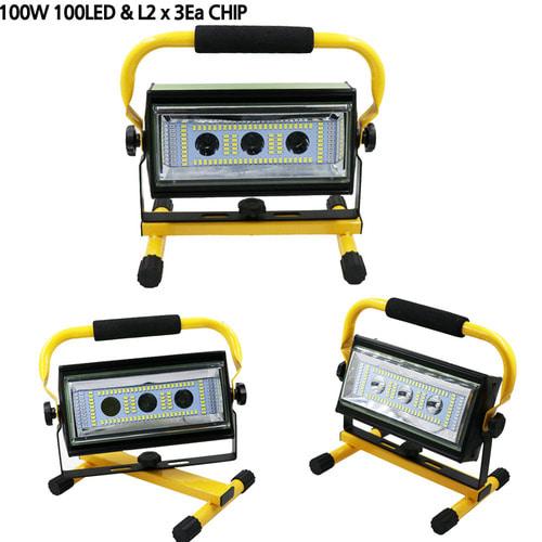 100w  3EA L2 투광기(아답터 포함) / 100W L2x3Ea 충전식 투광기 작업등 캠핑 랜턴 LED