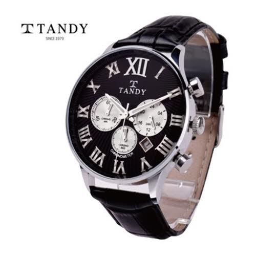 [TANDY]탠디 크로나 크로노 에디션 가죽손목시계 T1870-BK