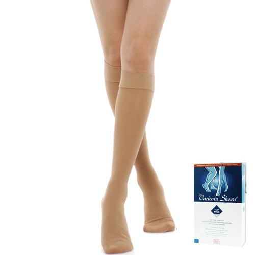 [바리코인3010]압박스타킹 무릎형(발막힘) 반불투명 Top Fine고급형재질(20-30mmHg)