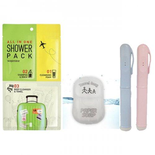 여행&캠핑용 청결세트(올인원샤워팩1매+종이비누50매휴대용+올인원칫솔1개)