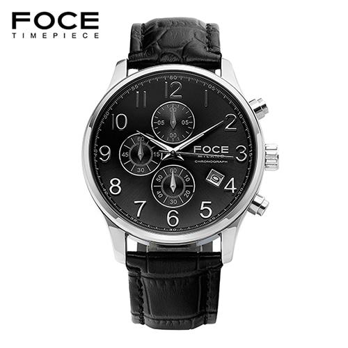 [FOCE]남성 가죽 손목시계 FM7519L-BK