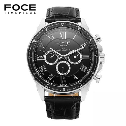 [FOCE]남성 가죽 손목시계 FM5208BK
