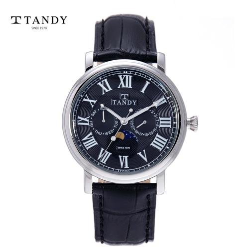 [TANDY]썬앤문 멀티 남성가죽 손목시계 T-1510BK