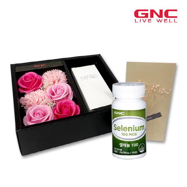 [GNC] 셀레늄100+비누꽃6송이 +감사봉투+쇼핑백세트