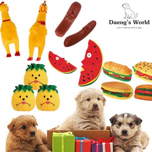 댕스월드 애견 장난감 5종(말하지마수박+웃어라파인애플+손꾸락아니고소시지+조용한치킨+버거퀸햄버거 )/색상랜덤