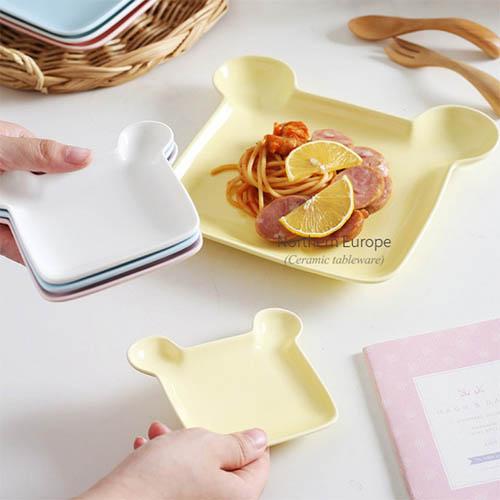 곰돌이 세라믹 접시 플레이트 간식 그릇