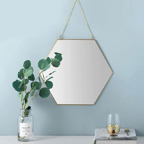 벽걸이 골드 황동 육각 스트랩 거울 소형
