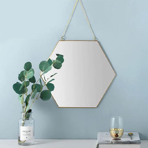벽걸이 골드 황동 육각 스트랩 거울 중형