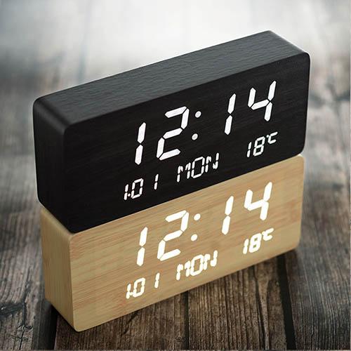 플라이토 우드 LED 데이트 탁상시계