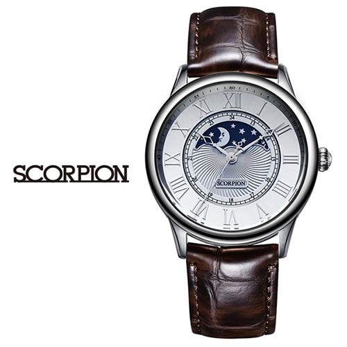 스콜피온 남성 가죽 손목시계 SP3323L-WH