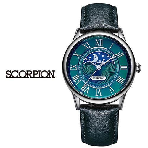 스콜피온 남성 가죽 손목시계 SP3323L-GN
