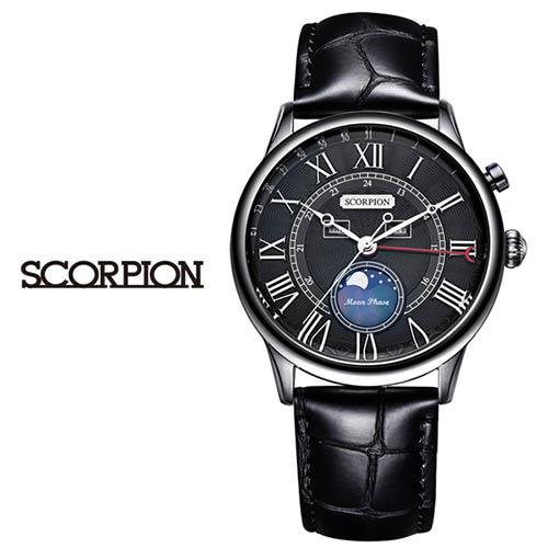 스콜피온 남성 가죽 손목시계 SP3320L-BK