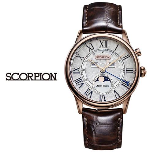 스콜피온 남성 가죽 손목시계 SP3320L-RG