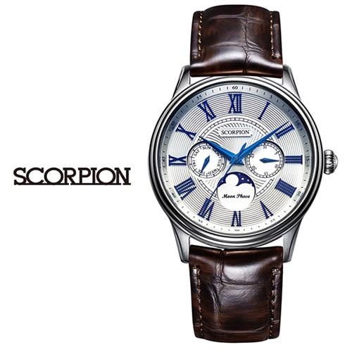 스콜피온 남성 가죽 손목시계 SP3324L-WH