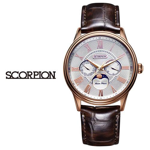 스콜피온 남성 가죽 손목시계 SP3324L-RG