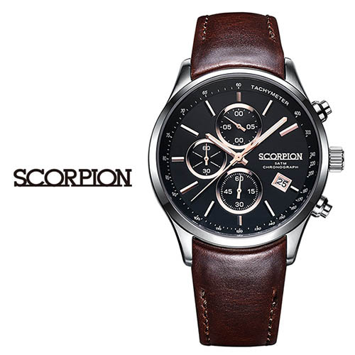스콜피온 남성 가죽 손목시계 SP3347L-BKR
