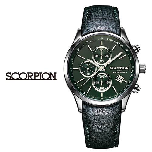 스콜피온 남성 가죽 손목시계 SP3347L-GN