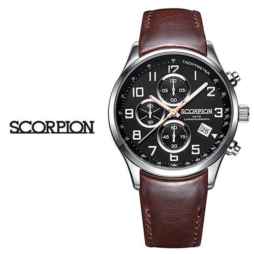 스콜피온 남성 가죽 손목시계 SP3348L-BKR