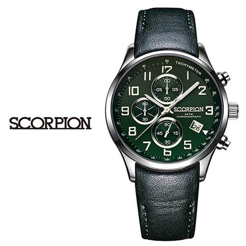 스콜피온 남성 가죽 손목시계 SP3348L-GN
