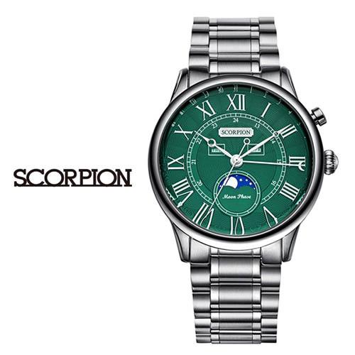 스콜피온 남성 메탈 손목시계 (D버클 가죽밴드 적용모델) SP3320M-GN