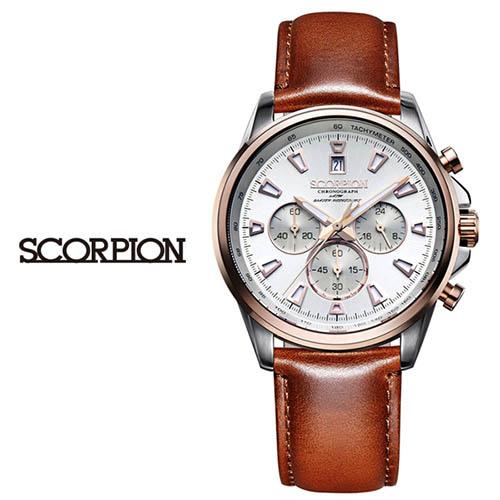 스콜피온 남성 가죽 손목시계 SP3312L-RG