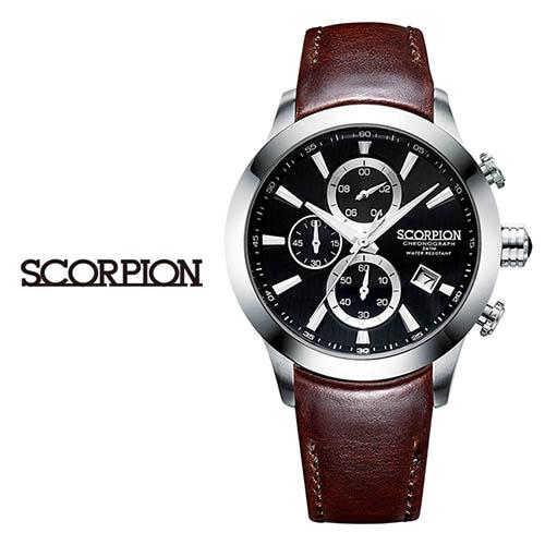 스콜피온 남성 가죽 손목시계 SP3351L-BK