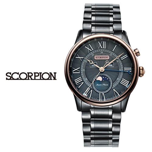 스콜피온 남성 메탈 손목시계 (D버클 가죽밴드 적용모델) SP3320M-GRG