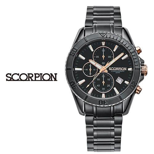 스콜피온 남성 메탈 손목시계 (D버클 가죽밴드 적용모델) SP3314M-GRG