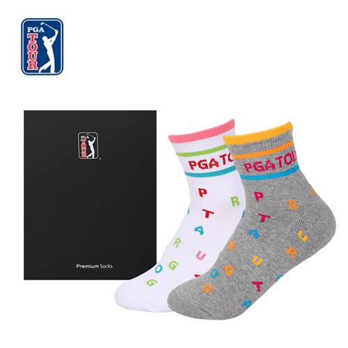 PGA TOUR 골프스포츠 양말(드라이쿨) 여성용 2족