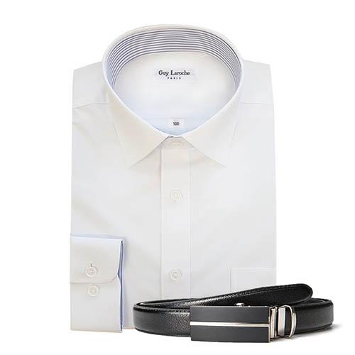 기라로쉬 화이트 셔츠+벨트 set (GRNRR-00881 & GL-BT-11,22,33,44,55)