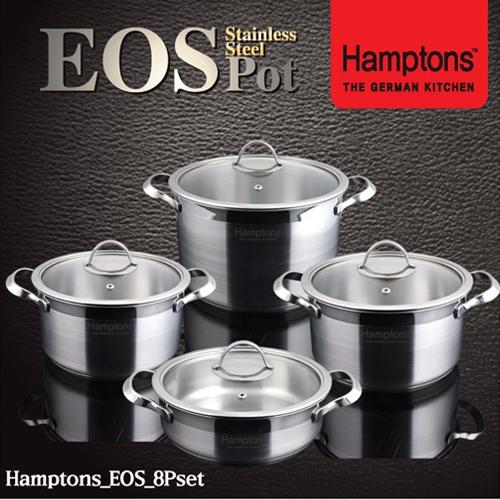 [Hamptons]독일 햄튼 EOS 인덕션 3중 바닥 냄비4종세트(양수18cm+양수20cm+양수24cm+전골20cm)