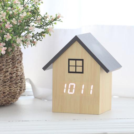 플라이토 우드 하우스 LED 인테리어 탁상시계