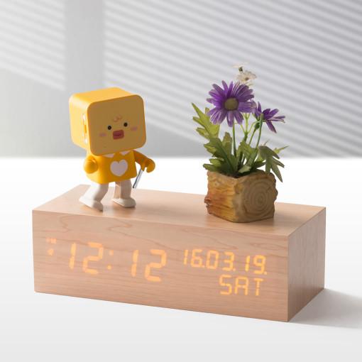 플라이토 우드 솔리드 데이트 LED 인테리어 탁상시계+USB아답터