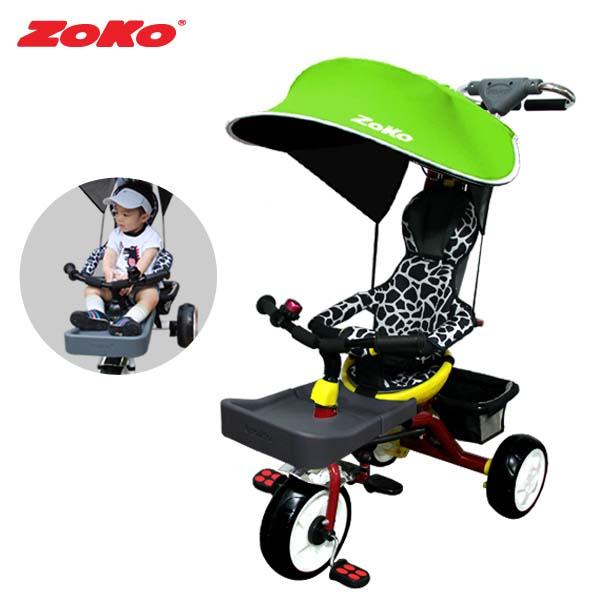 ZOKO 조코 플러스C600 유모차형 다기능 유아세발자전거(완성품)-레드+풋홀더+썬쉐이드(그린)