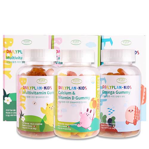 에버그린 데일리플랜-키즈 꾸미3종(오메가+멀티비타민+칼슘&비타민D)