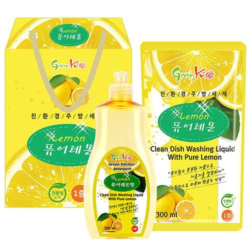 그린키스 친환경 레몬세제 2p (용기300ml, 리필300ml)