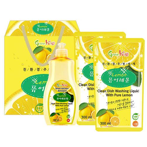 그린키스 친환경 레몬세제 3p (용기300ml, 리필300ml2개)
