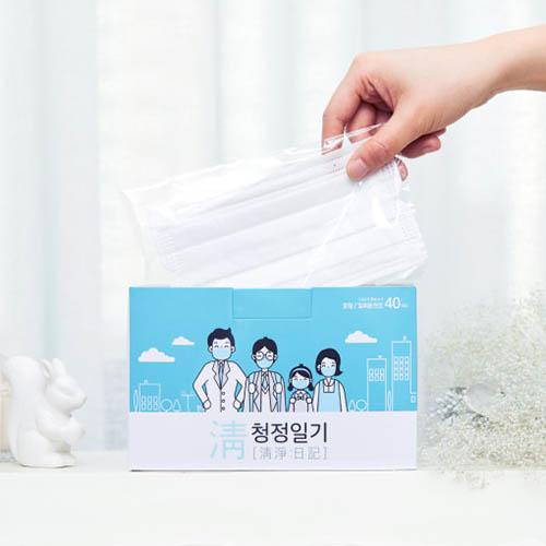 청정일기 일회용마스크 블랙 1박스 (40매)