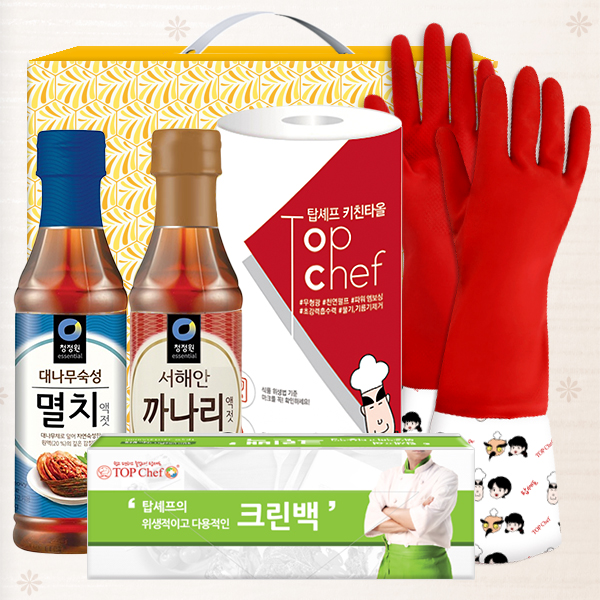 청정원 멸치액젓 까나리액젓 기모고무장갑 크린백 키친타올(5종)