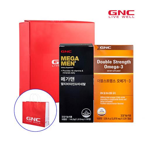 GNC 남성혈행건강(메가맨 90정 90일분 * 더블스트렝스피쉬바디오일 120캡슐 4개월분)