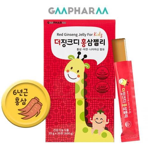 [지엠팜] 더징크디 홍삼젤리 30포 (어린이/ 홍삼+아연+나이아신)