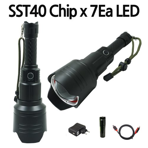 강력한밝기 T40칩 7개 LED 충전식 랜턴 손전등 후레쉬 SST7