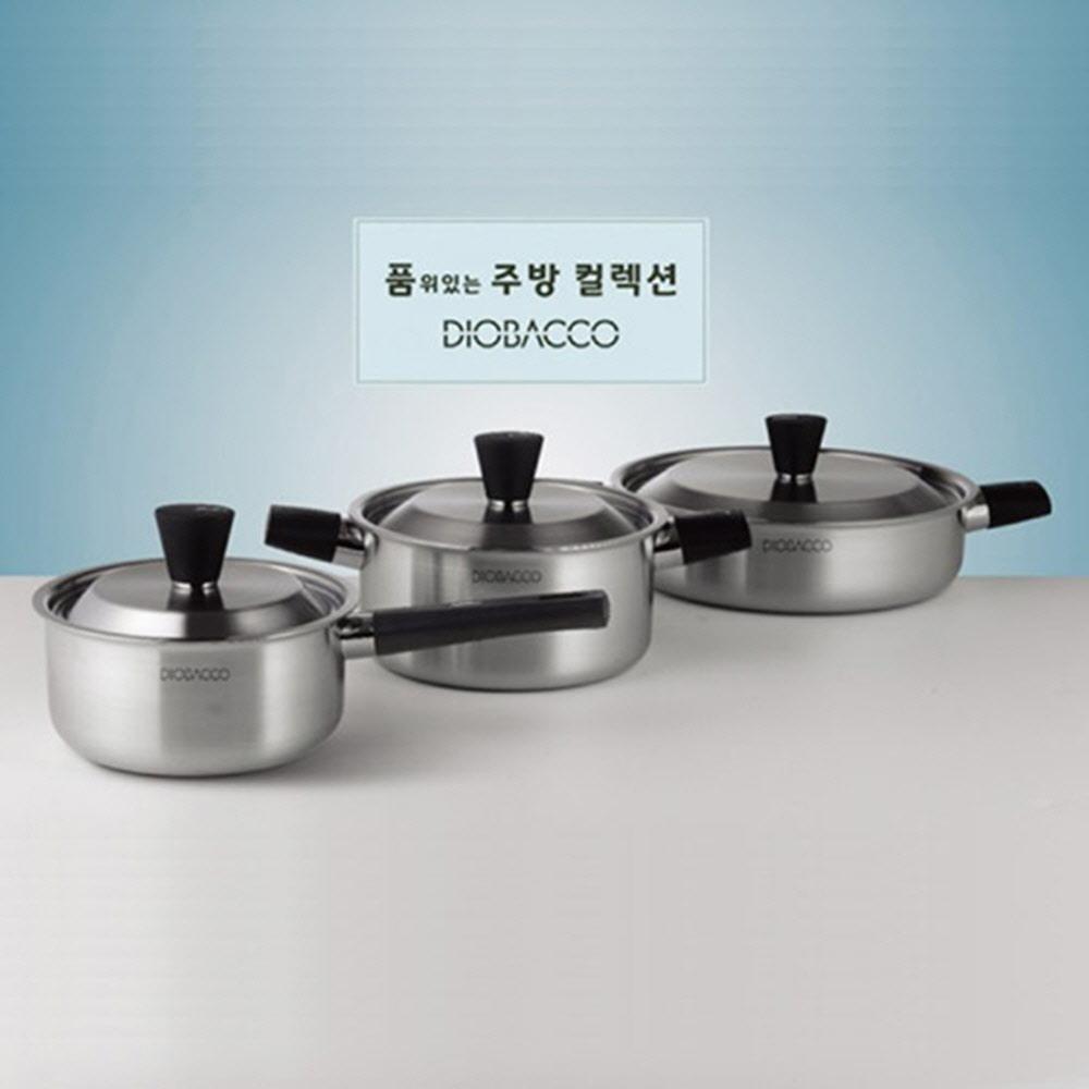 [리빙아트] 디오바코 POSSD 스텐냄비 3종(16cm 편수, 18cm 양수, 24cm 곰솥) IH사용 가능
