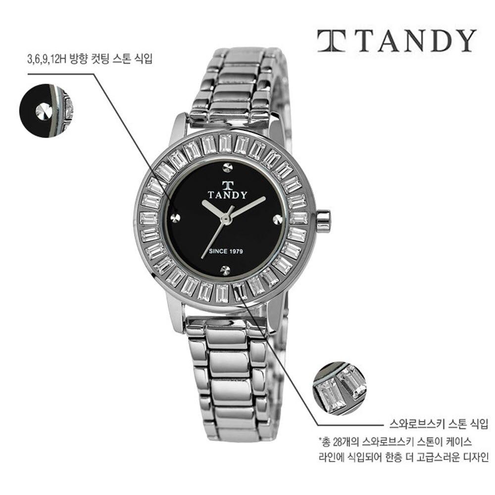 [TANDY] 탠디 럭셔리 여성용 쥬얼워치(스와로브스키 식입) T-4034 블랙