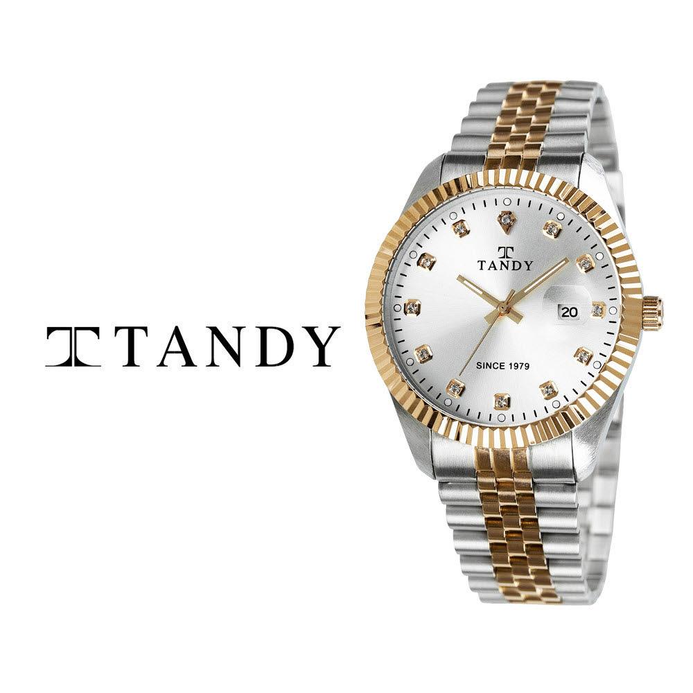 [TANDY] 탠디 럭셔리 커플 메탈 손목시계(스와로브스키 식입) T-3909 남자 골드콤비