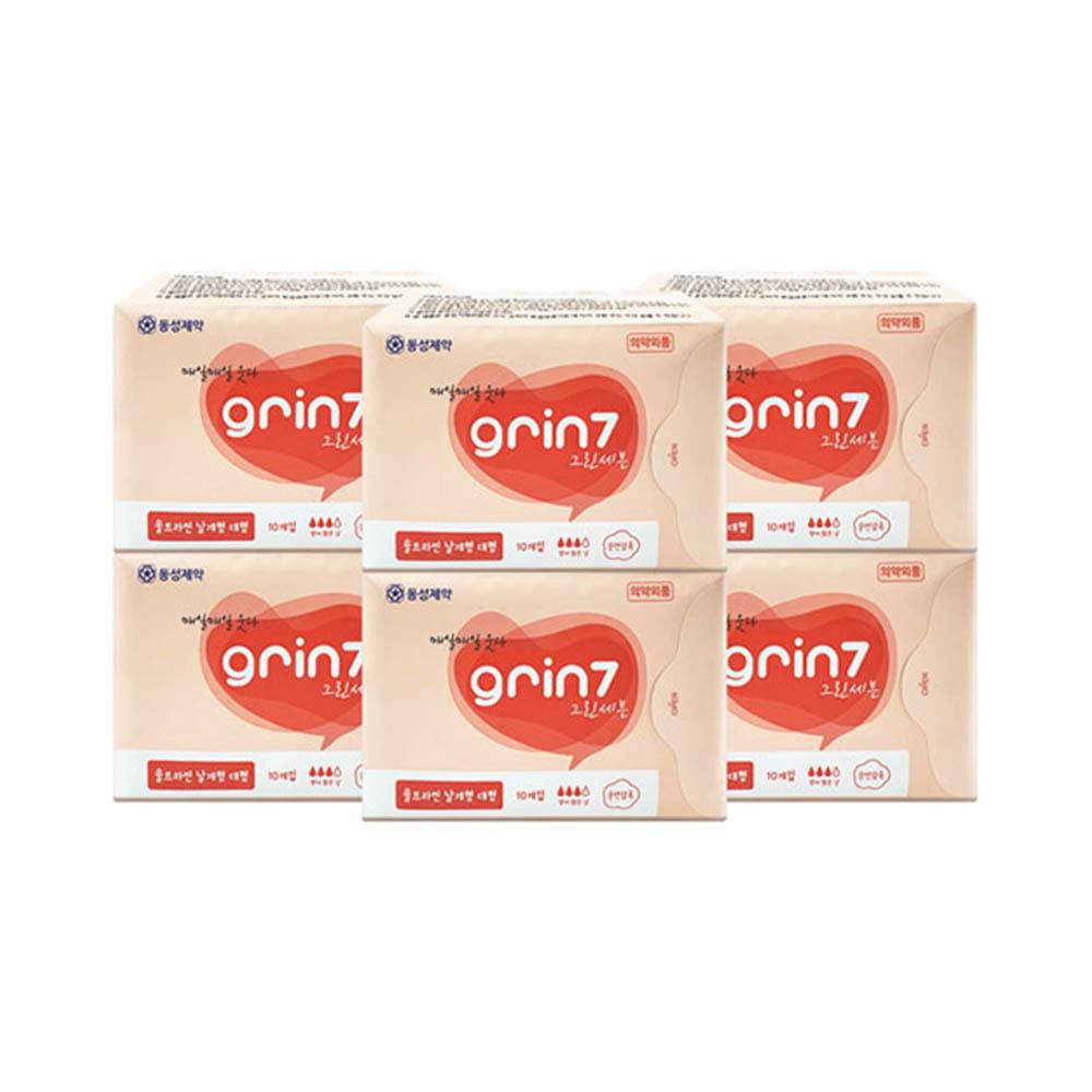 동성제약 그린세븐 대형 날개형 생리대(10매) x 6팩세트