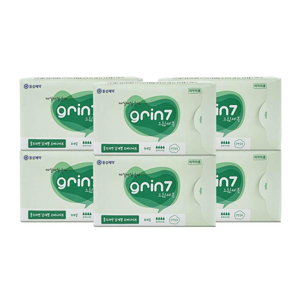 동성제약 그린세븐 오버나이트 날개형 생리대(8매) 6팩세트