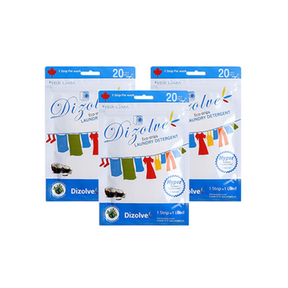 환경친화적 시트세제 디졸브 린넨향/무향 파우치 60매(20매X3팩)