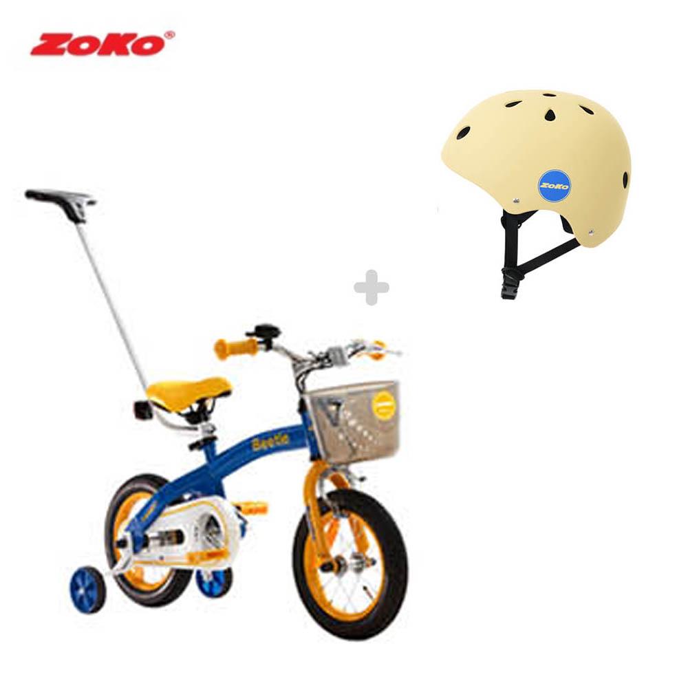 [세트]ZOKO 조코 비틀 12인치 체인자전거(보호자밀대)+조코 아동용 안전모 어반형헬멧